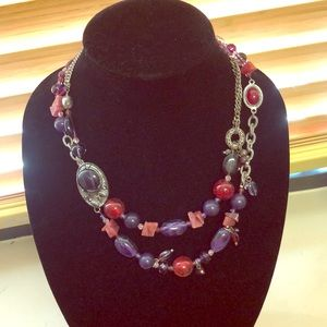 Chico's purple and red fall beaded necklace